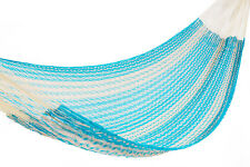 Mexican Single Hammock Camping Cotton Outdoor Made In Mexico Sky Blue & White
