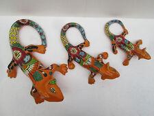 SET OF 3 TALAVERA CHAMELEONS  wall deco Mexican ceramic pottery lizard iguana