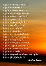 MOTHER THERESA LIFE INSPIRATIONAL MOTIVATIONAL POSTER