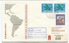 FFC 1966 Phila Service First Flight B 707 Geneve Sao Paulo REGISTERED Helvetia