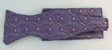 New Classic Fashion Stylish Woven Men's Bow Tie Lavender Floral Matching Hanky