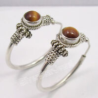 """925 Solid Silver Rare TIGER EYE TRIBAL MADE IN INDIA HOOP Earrings 1.2"""""""
