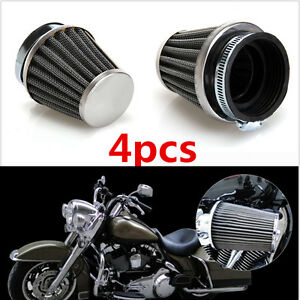 4X50mm Tapered Chrome Pod Air Filter Clean Mushroom Head Cleaner Motorcycle Café