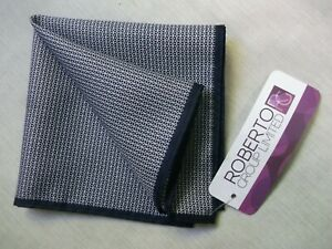 Hankie Pocket Square Handkerchief Hanky MENS Darkest Navy Blue Patterned