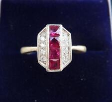 Stunning 18ct white gold art deco 1ct ruby and diamond ring