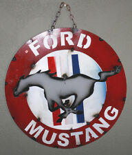Metal FORD MUSTANG Sign Gas Oil Garage Man Cave Home Decor Recycled  HOT ROD