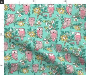 Owl Owls Flowers Floral Fall Forest Woodland Spoonflower Fabric by the Yard