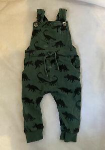 NEXT Green Dinosaur Print Dungarees Romper Suit Pockets Clip Straps 12-18 mths