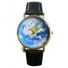 NEW Unisex Watch Map Pattern Leather Band Analog Quartz Wrist Watch T-STORE