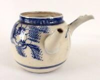 """Antique Chinese Blue & White Qing Dynasty Porcelain Tea Pot Double Pout 10cm 4"""""""