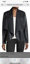 NWT Joan Vass Women Black Drape Faux Leather Jacket S