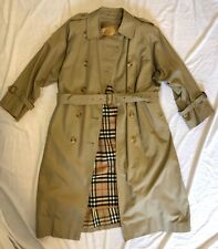 Vtg Burberry Classic Heritage Beige Stone Long Trench Coat Wool Lined 10 Petite