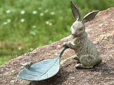 Rabbit Bunny And Leaf Bird Feeder Garden Sculpture Statue Cast Iron