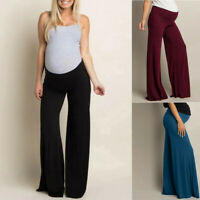 Women Maternity Loose Solid Wide Leg Straight Pants Pregnant Prop Belly Trousers