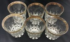 Old Fashioned Glasses Scotch Whiskey Cocktail Bar Man Cave Set Of 6 Gold Trim