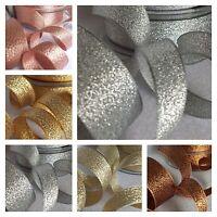7,15,25,40mm Berisfords Sparkly Lame Ribbon Silver Gold Copper Christmas Glitter