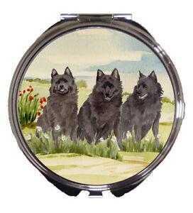 SCHIPPERKE DOG LADIES COMPACT MIRROR HANDBAG DESIGN SANDRA COEN PAINTING PRINT