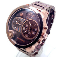 X300A Men Mr Daddy Wrist Watch Multi Chronograph Dials Rose Gold Case Brown Band