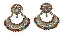 Jwellmart Indian Ethnic Gold Polish Multi Color CZ Kundan Fashion Earrings Women