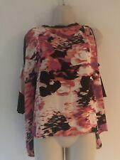 Juicy Couture Large Shirt Pink Black Floral Short Sleeve Cold Shoulder Top