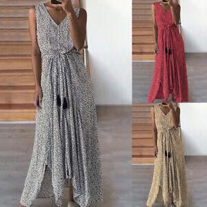 ZANZEA 8-24 Women Summer Sleeveless Printed Polka Dot Sundress Long Maxi Dress