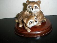 Vintage Porcelain Homco Baby Raccoons Playing #1454 Retired Wildlife Figurine