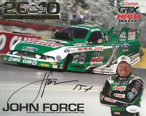 John Force signed 2010 Funny Car Champion Castrol NHRA Racing 8x10 Photo 15X JSA