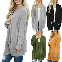 Womens Long Sleeve Sweater Cardigans Chunky Twist Cable Knit Jacket Coat Jumper