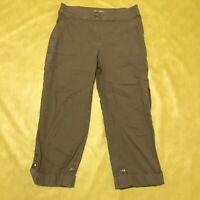 Chico's Women's Size 5 Khaki Folded Button Leg Capri Cropped Pants 98% Cotton