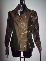 ROBERTO  CAVALLI camicia tg 42  verde con ricami pura seta