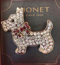 Monet Brooch Terrier Scottie Brooch Pin Rhinestone  Gold tone