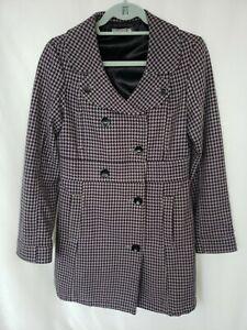 Volcom Coat Medium Button Up Plaid Peacoat Cotton Purple Black Jenny
