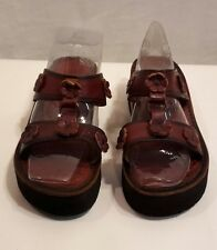 AVALOS MEXICO soft woven leather and wooden wedge platform mules clogs shoes 7