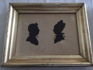 Unusual American Dual Hollow Cut Silhouette Of A Man And Wife, c.1830 Gilt Frame