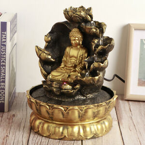Innovative LED Buddha Statue Waterfall Fountain Tabletop Ornament With Water