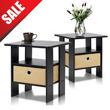 Nightstand Set of 2 Espresso End Table Bedroom Bedside Furniture Shelf Drawer