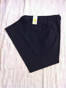 Ex M&S Tailoring Mens Pinstripe Trousers Wool Blend Charcoal UK Size 38W 33L