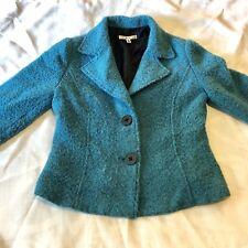CAbi Womens Size 6 #186 Turquoise Blue Blazer Jacket Wool Blend Boucle Knit