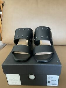 """Mimco """"Medley Mule"""" In Black Leather Shoes Size 36"""