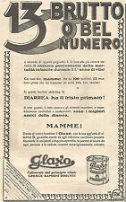 W4083 GLAXO - 13 Brutto o bel numero? -  Pubblicità del 1930 - Vintage advert