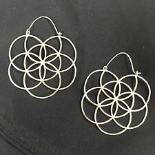 Silver Plated Flower of Life Sacred Geometry Large Tribal Hoop Earrings