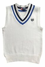 Chaps Boy's 24 Months White V-Neck Sweater Vest Cable Knit Top NEW $40