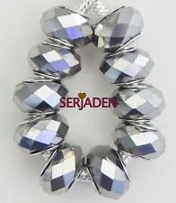 10 Silver Metallic Chrome Faceted Beads European Style 9 * 14 with 5mm Hole B020