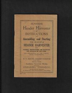 SUNSHINE MASSEY-HARRIS HEADER HARVESTER OPERATING INSTRUCTIONS 11/30