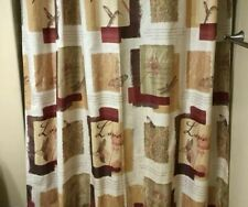 Shower Curtain with Hooks, Inspirational Design, Brown Gold Tan Rust Red, Euc