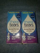 2 Pack Thera Tears Dry Eye Therapy Lubricant Eye Drops 1 oz / 30 mL exp: 02/2022