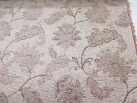 """Beige Chenille Floral Jacquard """"Daisy"""" Fire Resistant Heavy Upholstery Fabric."""