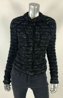 ISABEL MARANT ETOILE 36 XS S Black Wool Alpaca Boucle Collarless Jacket Blazer