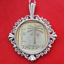 1968 Israel 10 Agorot Palm Coin Solid 925 Sterling Silver Necklace NEW