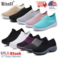 Women's Ladies Slip On Walking Running Sports Comfy Sock Sneakers Mesh Shoes USA